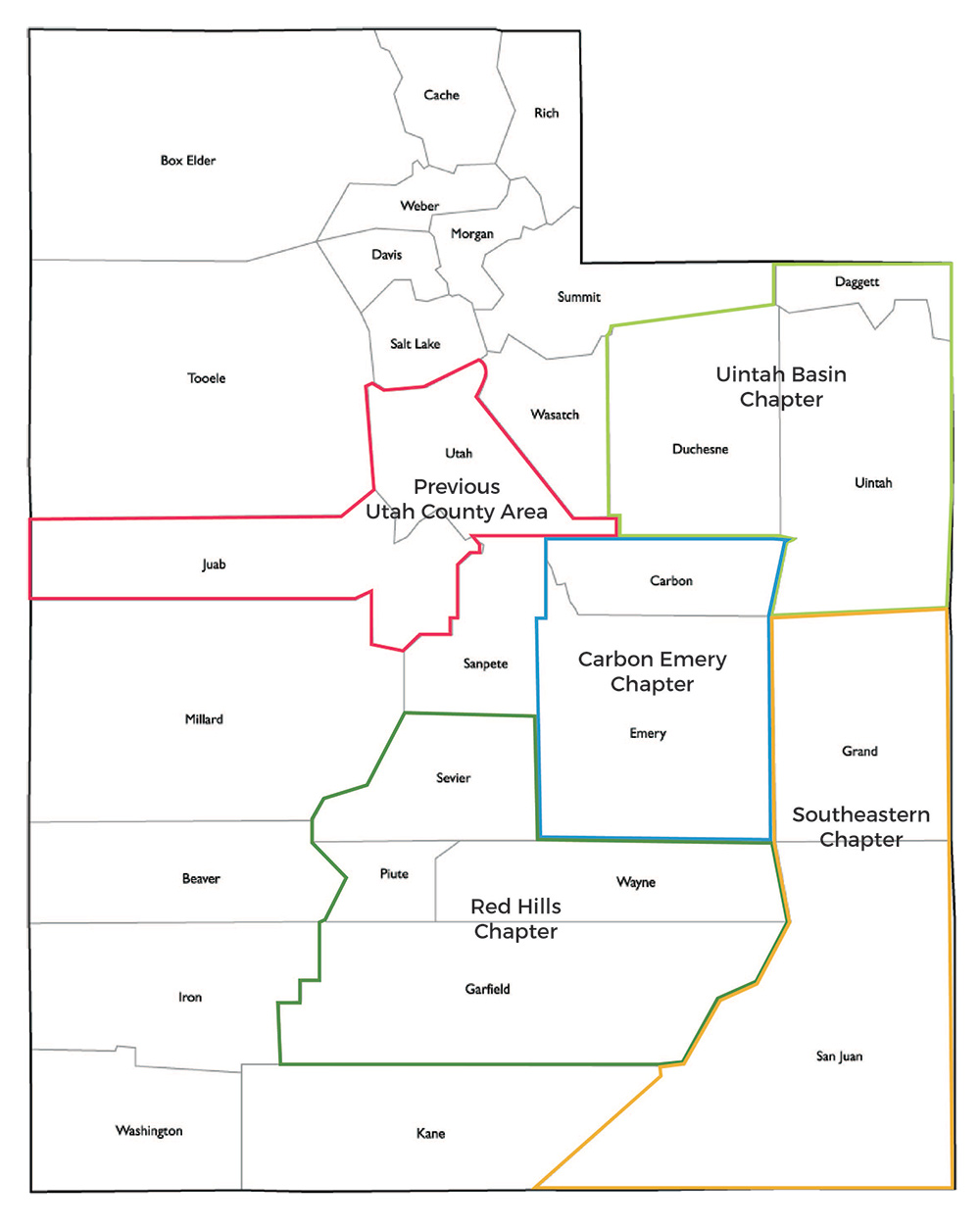 Utah maps with outlines of chapter counties
